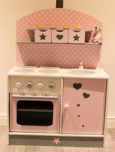 kinderherd kinderk che rosa braun weiss shabby von domis pusteblume auf kaufladen. Black Bedroom Furniture Sets. Home Design Ideas