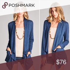 "S-L Knit Cardigan with Pockets- Denim Blue Medium weight sweater knit cardigan with pockets. Length 32"" Material: 15% Rayon, 85% Polyester. Sizes S-L. Fall closet staple! Color: Denim Blue. MADE IN USA!! Sweaters Cardigans"