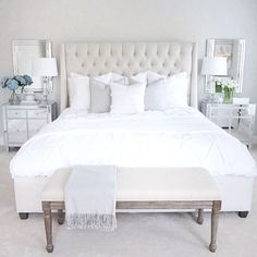 Tufted linen bed, classic gray Benjamin Moore walls, mirrored nightstand, white table lamp, tufted l Home Bedroom, Bedroom Inspo, Bedroom Ideas, Bedroom Styles, Bedroom Lamps, Mirror For Bedroom, Crystal Bedroom Decor, Master Bed Room Ideas, Master Bedroom Furniture Ideas