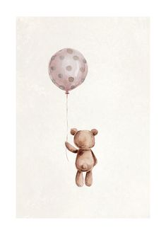 A cute illustrated children's print of a bear making his way home from a party with his new dotted balloon. The motif is painted in watercolor and has a beautiful texture in the background. This print is available in a series that you can mix and match in Ikea Baby Nursery, Nursery Canvas, Balloon Illustration, Bear Illustration, Vintage Baby Pictures, Bear Watercolor, Baby Icon, Baby Posters, Bear Drawing