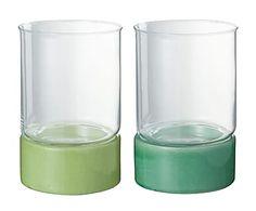 Set de 2 portavelas de cerámica y vidrio, verde - Ø15 cm