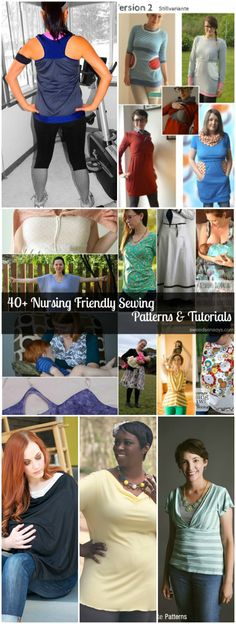 40 Nursing Friendly Sewing Patterns and Tutorials Maternity Sewing Patterns, Pdf Sewing Patterns, Sewing Tutorials, Nursing Tops, Nursing Clothes, Diy Clothing, Sewing Clothes, Maternity Clothing, Breastfeeding Clothes