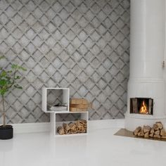 Classic trellis pattern updated into a sturdy concrete wall. The trellis pattern is a recurrent theme in wallpaper history. But the combination with unyielding concrete gives it a whole different style.