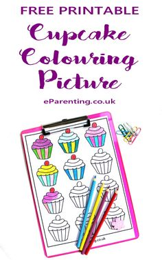 Free printable cupcake colouring picture. #Cupcake #Coloring
