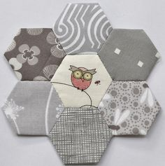 Grey Hexies... Sweet pink owl!  oh what a great idea....love it..