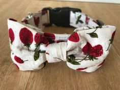 White with Red Strawberries Dog Collar bow tie bandana   Handmade dog collars and bow ties for your Trendy Pet by MyTrendyPooch #dogcollars #catcollars #dogs #cats #handmade #designer #fashionable #dogbowties #bowties #bandana #doglead