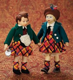 Home At Last - Antique Doll and Dollhouses: 323 Pair,Italian Felt Character Dolls in Original Scottish Costumes by Lenci