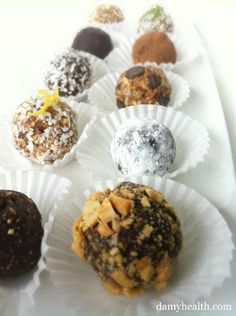 List of healthy truffles, chocolates and cookies. All of them are raw, vegan and no bake.