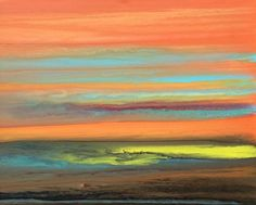 Abstract Landscape Painting,Sunset Blazing Sky Reflected X by Colorado Contemporary Artist Kimberly Conrad Original art painting by Kimberly Conrad - DailyPainters.com