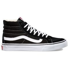 Vans Sk8-Hi Slim found on Polyvore featuring shoes, sneakers, black, black shoes, black lace up shoes, high top trainers, vans high tops and lace up sneakers