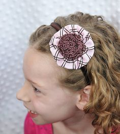 GIrls Light Pink and Brown Fabric Flower by TheLavenderLounge, $6.00