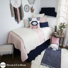 Teen bedroom chic- BOHO meets JoJo- Fixer Upper! Pink & Navy Boho Designer Teen Girl Bedding Set