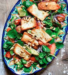 This Hemsley + Hemsley papaya, halloumi and watercress salad is like lunch and dessert in one! Prepped in just 15 mins, this is perfect for lunch. Healthy Recepies, Healthy Salad Recipes, Lunch Recipes, Vegetarian Recipes, Cooking Recipes, Clean Recipes, Keto Recipes, Healthy Snacks, Healthy Eating