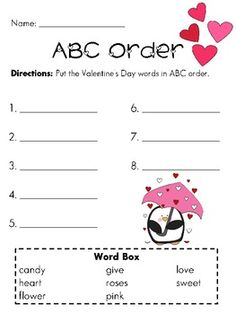 ABC Order with the love penguin - word cards to put in order as well