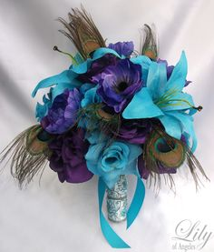 Peacock+Wedding+Flowers | 17pcs Wedding Bridal Bouquet Flower Decoration Peacock Feathers Purple ...