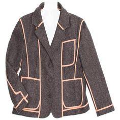 Preowned Marni Grey School Boy Jacket ($1,700) ❤ liked on Polyvore featuring outerwear, jackets, grey, single breasted jacket, gray wool blazer, blazer jacket, cropped wool jacket and grey wool blazer