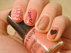 pink hearts and love glitter Valentine's Day : nail art : manicure Love Nails, How To Do Nails, Pretty Nails, Fun Nails, Sexy Nails, Essie, Autumn Nails, Manicure E Pedicure, Cute Nail Designs