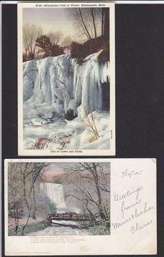 Minnehaha Falls-MN-Winter-Frozen-Bridge-Postcard Lot | eBay