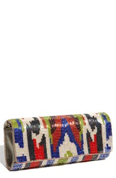 clutch bugle ikat by Moyna Beaded Clutch, Beaded Bags, Sac Week End, Transparent Bag, Little Bag, Clutch Wallet, Clutch Bags, Evening Bags, Lady