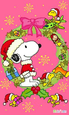 Snoopy, Woodstock and Friends Standing By and Inside a Huge Christmas Wreath