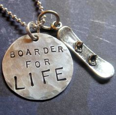 Snowboard Jewelry Snowboarding Necklace or Keyring by LifeIsRosey