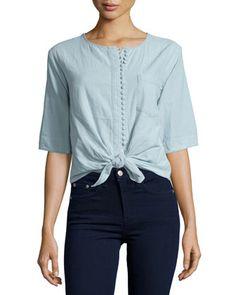 La Marguerite Tie-Waist Shirt, Constance Blue by McGuire at Neiman Marcus.