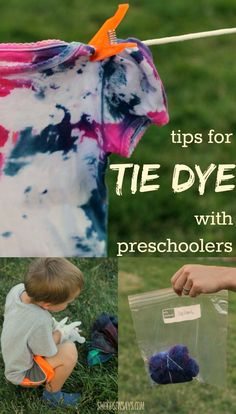 Tips for tie dye with preschoolers! Tie dyeing with young kids doesn't have to be a disaster - and they will love wearing a shirt they helped make! Easy tie dye tips for any parent. Tie Dye Tips, Dyed Tips, How To Tie Dye, Tie Die Shirts, Diy Tie Dye Shirts, Diy Shirt, Diy Tank, Toddler Ties, Toddler Stuff