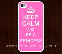 iphone 4 case, iphone 4s case, Keep Calm and be a princess, Painting white hard case, pink iphone case. $9.99, via Etsy.
