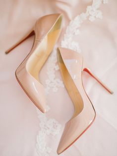 Nude pointed toe red sole pumps: http://www.stylemepretty.com/canada-weddings/ontario/toronto/2017/01/11/the-kind-of-wedding-you-look-back-on-and-still-love-in-20-years/ Photography: Julia Park - http://www.juliapark.ca/
