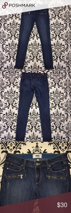 "Paige denim skinny jean Monica style size 27 Paige denim slightly distressed skinny jeans Monica style with zipper accents size 27 Inseam 29.5"" Excellent condition. No rips, tears or stains. 📦📫 ships next day 📫📦 Paige Jeans Jeans Skinny"