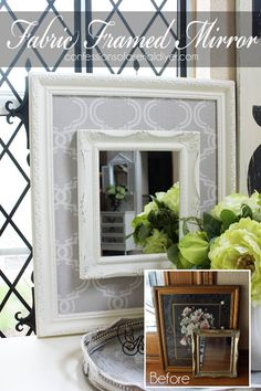 s 23 awesome things you didn t know you could do with old picture frames, crafts, repurposing upcycling, Add an elegant fabric frame to boring mirrors Cadre Photo Diy, Frame Crafts, Mirror Crafts, Diy Frame, Cuadros Diy, Garden Frame, Empty Frames, Framed Fabric, Fabric Frame