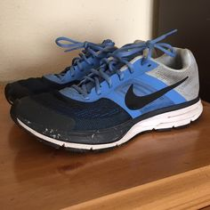 Blue Nike Air Pegasus 30 Great shoe for running or working out. I used mainly for running. Has about 150 miles. Scratched around toe area from running. Has nike plus sensor hole under the sole. Very comfortable and has support. Nike Shoes Athletic Shoes