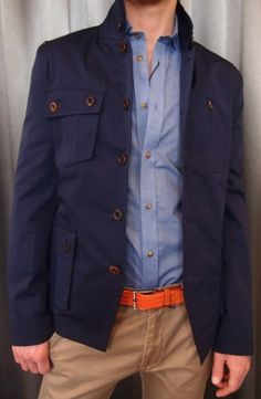 Johnny Love navy spring jacket $395 with button down blue shirt $165 from Gotstyle Menswear.