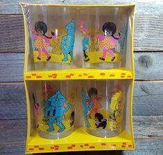 Vtg Wizard of Oz Dorothy Tin Man Lion Scarecrow Toto Party Glasses Sealed Box! #TheWizardofOz