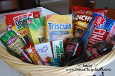 baby daddy basket treats - It can be a very long time at the hospital for the supportive dad-to-be.  Giving him a support too so he has the energy to support mom-to-be