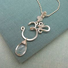 OM Necklace with Quartz by Laladesignstudio on Etsy,