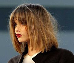 Blunt Bangs Shaggy Bob Hairstyles