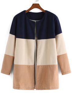 Color-block Round Neck Woolen Coat , 40% Off 1st Order