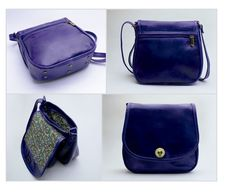 SHINY PURPLE FLAP. EXTERIOR: Made of shiny purple Vachetta Leather. Antique brass round turn lock. Metal-nished zippers. Rectangular metal rings. External zipper pocket. Antique brass metal studs. INTERIOR: Printed lining. One Pocket for cell phone or glasses. One zipper pocket.