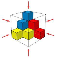 Triángulo de cubos 6 puntos de vista
