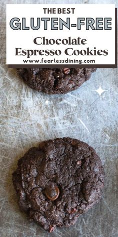These delicious gluten free chocolate espresso cookies make the best dessert. Loaded with chocolate chips. fearlessdining Best Gluten Free Cookie Recipe, Gluten Free Desserts, Fun Desserts, Gluten Free Recipes, Gluten Free Chocolate, Chocolate Chips, Chocolate Chip Cookies, School Cafe, Cocoa Nibs