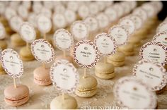 Bring a little bit of Paris into your wedding with these tasty little French macarons! What is a macaron you ask? A macaron is a light, air. Wedding Table Names, Wedding Place Cards, Wedding Favours, Macaron Wedding, Rustic Wedding, Our Wedding, Seating Cards, Deco Table, Table Cards