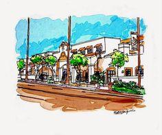 Retail and offices building at El Camino Real: Bright and sunny California via iPad