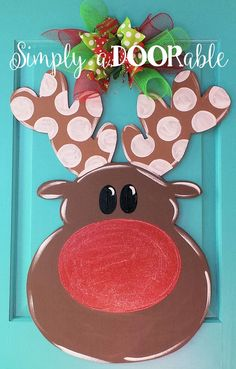 Rudolph Wood Door Hanger by Simply aDOORable. Christmas Door Decor, Wood Door Hanger, Christmas Wreath, Reindeer Door Hanger, Christmas Gift by SimplyaDOORableNC on Etsy
