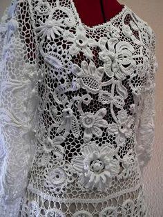 'swan' dress - Irish crochet techniques, by Russian crochet designer Olgemini, via Flickr by anariidf.hakala