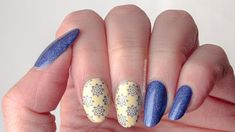 #52weeknailchallenge - week 24: Blue + Yellow using a-england Katherine Parr, OPI One Chic Chick, MoYou London Asia 07