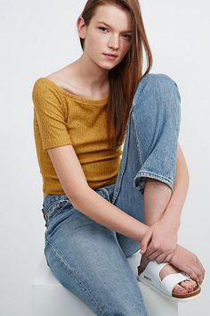 Cooperative Bardot Rib Crop Top in Mustard - Urban Outfitters