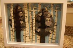 Modern Birch Tree and Owl Shadowbox by OwlHouseDesigns on Etsy, $70.00