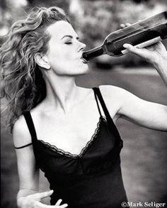 Nicole Kidman. Black Lace. Drinking. Wine Bottle. Hair. Curls. Rolling Stone.