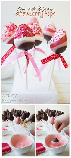 Fun and Easy Chocolate Dipped Strawberry Pops for Valentines Day! Fun and Easy Chocolate Dipped Strawberry Pops for Valentines Day! Valentines Day Treats, Holiday Treats, Valentines Baking, Valentine Desserts, Kids Valentines, Valentine Cookies, Birthday Treats, Cake Birthday, Patisserie Fine